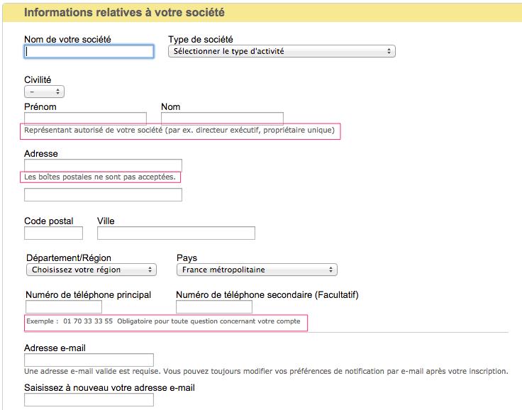 Formulaire d'inscription sur eBay.fr
