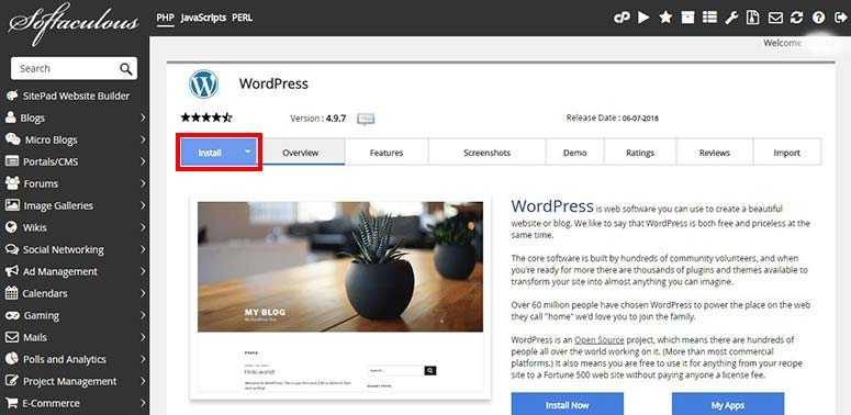 Installez WordPress depuis Softaculous