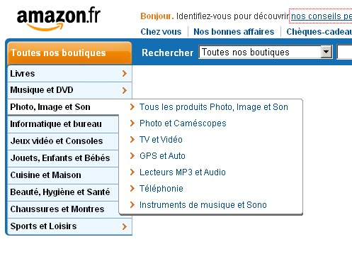 Exemple de navigation du site Amazon.fr